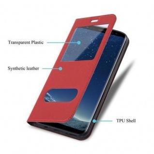 Cadorabo Hülle für Samsung Galaxy S8 in SAFRAN ROT ? Handyhülle mit Magnetverschluss, Standfunktion und 2 Sichtfenstern ? Case Cover Schutzhülle Etui Tasche Book Klapp Style - Vorschau 3