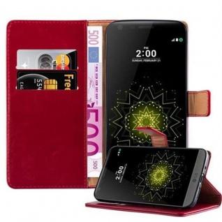 Cadorabo Hülle für LG G5 in WEIN ROT - Handyhülle mit Magnetverschluss, Standfunktion und Kartenfach - Case Cover Schutzhülle Etui Tasche Book Klapp Style
