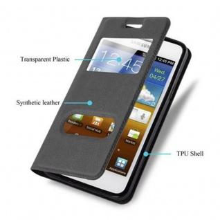 Cadorabo Hülle für Samsung Galaxy S2 / S2 PLUS in KOMETEN SCHWARZ - Handyhülle mit Magnetverschluss, Standfunktion und 2 Sichtfenstern - Case Cover Schutzhülle Etui Tasche Book Klapp Style - Vorschau 2