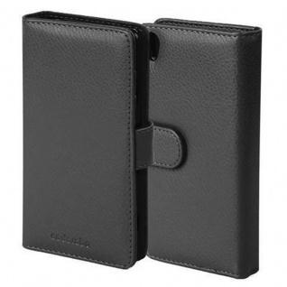 Cadorabo Hülle für Sony Xperia Z5 in OXID SCHWARZ Handyhülle mit Magnetverschluss und 3 Kartenfächern Case Cover Schutzhülle Etui Tasche Book Klapp Style