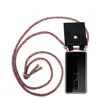 Cadorabo Handy Kette für Sony Xperia 1 in COLORFUL PARROT - Silikon Necklace Umhänge Hülle mit Gold Ringen, Kordel Band Schnur und abnehmbarem Etui ? Schutzhülle