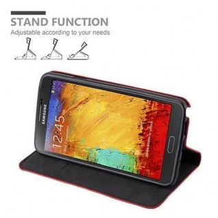 Cadorabo Hülle für Samsung Galaxy NOTE 3 NEO in APFEL ROT - Handyhülle mit Magnetverschluss, Standfunktion und Kartenfach - Case Cover Schutzhülle Etui Tasche Book Klapp Style - Vorschau 4