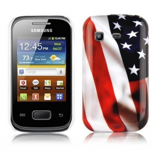 Cadorabo - Hard Cover für Samsung Galaxy POCKET - Case Cover Schutzhülle Bumper im Design: STARS AND STRIPES