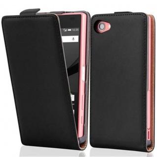 Cadorabo Hülle für Sony Xperia Z5 COMPACT in KAVIAR SCHWARZ - Handyhülle im Flip Design aus glattem Kunstleder - Case Cover Schutzhülle Etui Tasche Book Klapp Style