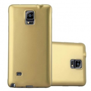 Cadorabo Hülle für Samsung Galaxy NOTE 4 in METALLIC GOLD Handyhülle aus flexiblem TPU Silikon Silikonhülle Schutzhülle Ultra Slim Soft Back Cover Case Bumper