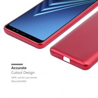 Cadorabo Hülle für Samsung Galaxy A8 2018 in METALLIC ROT - Handyhülle aus flexiblem TPU Silikon - Silikonhülle Schutzhülle Ultra Slim Soft Back Cover Case Bumper - Vorschau 5