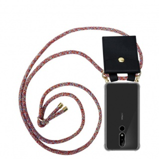 Cadorabo Handy Kette für Nokia 5.1 Plus in COLORFUL PARROT Silikon Necklace Umhänge Hülle mit Gold Ringen, Kordel Band Schnur und abnehmbarem Etui Schutzhülle