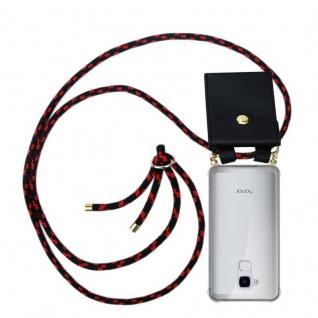 Cadorabo Handy Kette für Honor 5C in SCHWARZ ROT Silikon Necklace Umhänge Hülle mit Gold Ringen, Kordel Band Schnur und abnehmbarem Etui Schutzhülle