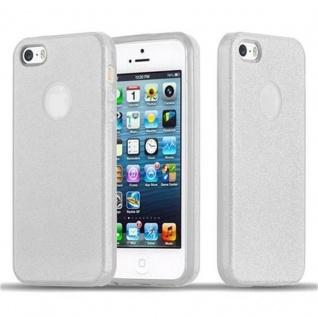 Cadorabo Hülle für Apple iPhone 5 / iPhone 5S / iPhone SE - Hülle in STERNENSTAUB SILBER ? TPU Silikon und Hardcase Handyhülle im Glitzer Design - Hard Case TPU Silikon Schutzhülle