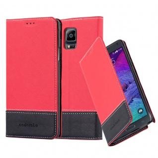 Cadorabo Hülle für Samsung Galaxy NOTE 4 in ROT SCHWARZ Handyhülle mit Magnetverschluss, Standfunktion und Kartenfach Case Cover Schutzhülle Etui Tasche Book Klapp Style