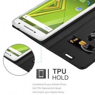 Cadorabo Hülle für Motorola MOTO X PLAY in CLASSY SCHWARZ - Handyhülle mit Magnetverschluss, Standfunktion und Kartenfach - Case Cover Schutzhülle Etui Tasche Book Klapp Style - Vorschau 2