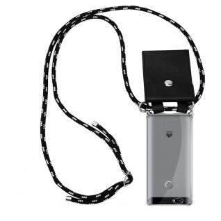 Cadorabo Handy Kette für Huawei NOVA in SCHWARZ SILBER Silikon Necklace Umhänge Hülle mit Silber Ringen, Kordel Band Schnur und abnehmbarem Etui Schutzhülle