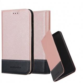 Cadorabo Hülle für Sony Xperia M4 AQUA in ROSÉ GOLD SCHWARZ - Handyhülle mit Magnetverschluss, Standfunktion und Kartenfach - Case Cover Schutzhülle Etui Tasche Book Klapp Style