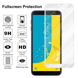 Cadorabo Vollbild Panzer Folie für Samsung Galaxy J6 2018 - Schutzfolie in TRANSPARENT mit WEISS - Gehärtetes (Tempered) Display-Schutzglas in 9H Härte mit 3D Touch Kompatibilität - Vorschau 4