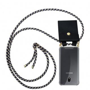 Cadorabo Handy Kette für Samsung Galaxy J7 2018 in DUNKELBLAU GELB - Silikon Necklace Umhänge Hülle mit Gold Ringen, Kordel Band Schnur und abnehmbarem Etui ? Schutzhülle