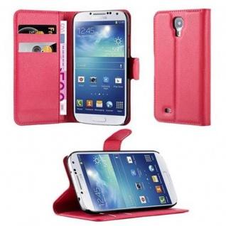 Cadorabo Hülle für Samsung Galaxy S4 in KARMIN ROT - Handyhülle mit Magnetverschluss, Standfunktion und Kartenfach - Case Cover Schutzhülle Etui Tasche Book Klapp Style