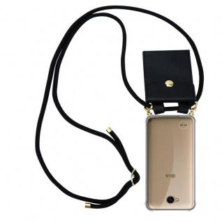 Cadorabo Handy Kette für LG X Power 2 in SCHWARZ - Silikon Necklace Umhänge Hülle mit Gold Ringen, Kordel Band Schnur und abnehmbarem Etui ? Schutzhülle