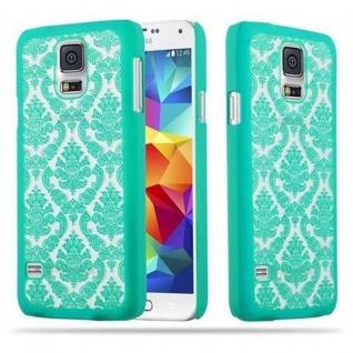 Samsung Galaxy S5 / S5 NEO Hardcase Hülle in GRÜN von Cadorabo - Blumen Paisley Henna Design Schutzhülle ? Handyhülle Bumper Back Case Cover