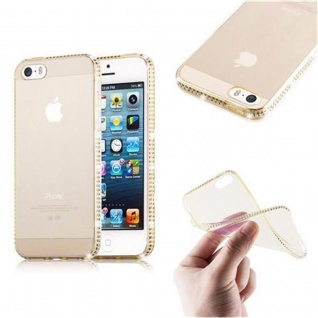 Cadorabo Hülle für Apple iPhone 5 / iPhone 5S / iPhone SE - Hülle in TRANSPARENT GOLD - Handyhülle aus TPU Silikon im Strass Design - Silikonhülle Schutzhülle Ultra Slim Soft Back Cover Case Bumper