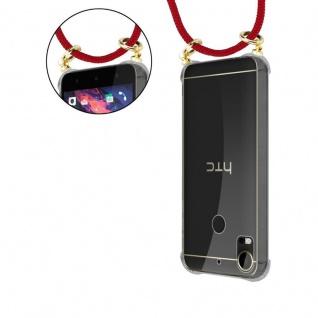Cadorabo Handy Kette für HTC Desire 10 PRO in RUBIN ROT - Silikon Necklace Umhänge Hülle mit Gold Ringen, Kordel Band Schnur und abnehmbarem Etui ? Schutzhülle - Vorschau 5