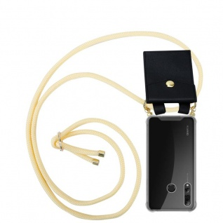 Cadorabo Handy Kette für Huawei P SMART PLUS 2019 in CREME BEIGE Silikon Necklace Umhänge Hülle mit Gold Ringen, Kordel Band Schnur und abnehmbarem Etui Schutzhülle