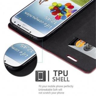Cadorabo Hülle für Samsung Galaxy S4 in APFEL ROT - Handyhülle mit Magnetverschluss, Standfunktion und Kartenfach - Case Cover Schutzhülle Etui Tasche Book Klapp Style - Vorschau 4