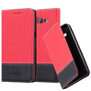 Cadorabo Hülle für Samsung Galaxy GRAND PRIME in ROT SCHWARZ ? Handyhülle mit Magnetverschluss, Standfunktion und Kartenfach ? Case Cover Schutzhülle Etui Tasche Book Klapp Style