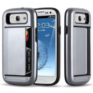 Cadorabo Hülle für Samsung Galaxy S3 / S3 NEO - Hülle in ARMOR SILBER ? Handyhülle mit Kartenfach - Hard Case TPU Silikon Schutzhülle für Hybrid Cover im Outdoor Heavy Duty Design