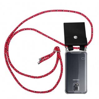 Cadorabo Handy Kette für Samsung Galaxy S5 / S5 NEO in PINK SCHWARZ WEISS GEPUNKTET - Silikon Necklace Umhänge Hülle mit Silber Ringen, Kordel Band Schnur und abnehmbarem Etui - Schutzhülle