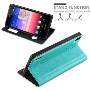 Cadorabo Hülle für Huawei P7 in MINT TÜRKIS ? Handyhülle mit Magnetverschluss, Standfunktion und 2 Sichtfenstern ? Case Cover Schutzhülle Etui Tasche Book Klapp Style - Vorschau 4