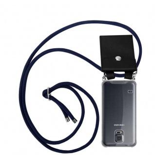 Cadorabo Handy Kette für Samsung Galaxy S5 / S5 NEO in TIEF BLAU Silikon Necklace Umhänge Hülle mit Silber Ringen, Kordel Band Schnur und abnehmbarem Etui Schutzhülle