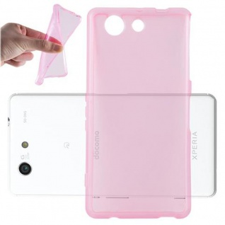 Cadorabo Hülle für Sony Xperia Z4 MINI / Z3 PLUS COMPACT - Hülle in TRANSPARENT PINK â€? Handyhülle aus TPU Silikon im Ultra Slim 'AIR' Design - Ultra Slim Soft Backcover Case Bumper