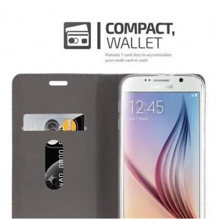 Cadorabo Hülle für Samsung Galaxy S6 in HELL GRAU BRAUN Handyhülle mit Magnetverschluss, Standfunktion und Kartenfach Case Cover Schutzhülle Etui Tasche Book Klapp Style - Vorschau 3