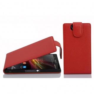 Cadorabo Hülle für Sony Xperia Z in INFERNO ROT - Handyhülle im Flip Design aus strukturiertem Kunstleder - Case Cover Schutzhülle Etui Tasche Book Klapp Style