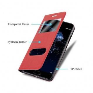 Cadorabo Hülle für Huawei P10 in SAFRAN ROT - Handyhülle mit Magnetverschluss, Standfunktion und 2 Sichtfenstern - Case Cover Schutzhülle Etui Tasche Book Klapp Style - Vorschau 3