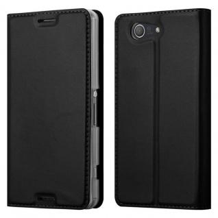 Cadorabo Hülle für Sony Xperia Z3 COMPACT in CLASSY SCHWARZ - Handyhülle mit Magnetverschluss, Standfunktion und Kartenfach - Case Cover Schutzhülle Etui Tasche Book Klapp Style