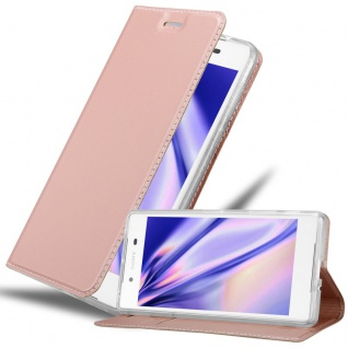 Cadorabo Hülle für Sony Xperia Z5 PREMIUM in CLASSY DUNKEL BLAU - Handyhülle mit Magnetverschluss, Standfunktion und Kartenfach - Case Cover Schutzhülle Etui Tasche Book Klapp Style