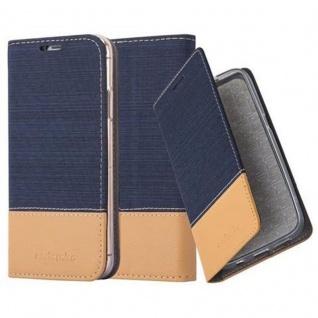 Cadorabo Hülle für Apple iPhone X / XS in DUNKEL BLAU BRAUN - Handyhülle mit Magnetverschluss, Standfunktion und Kartenfach - Case Cover Schutzhülle Etui Tasche Book Klapp Style