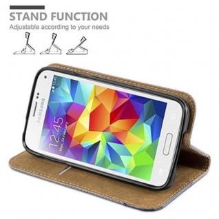 Cadorabo Hülle für Samsung Galaxy S5 MINI / S5 MINI DUOS - Hülle in GRAU BLAU - Handyhülle in Bast-Optik mit Kartenfach und Standfunktion - Case Cover Schutzhülle Etui Tasche Book Klapp Style - Vorschau 4
