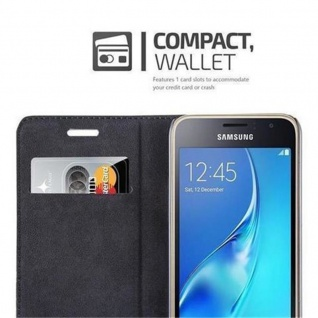 Cadorabo Hülle für Samsung Galaxy J1 2016 in NACHT SCHWARZ - Handyhülle mit Magnetverschluss, Standfunktion und Kartenfach - Case Cover Schutzhülle Etui Tasche Book Klapp Style - Vorschau 3