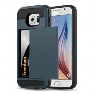 Cadorabo Hülle für Samsung Galaxy S6 - Hülle in TRESOR NAVY BLAU - Handyhülle mit verstecktem Kartenfach - Hard Case TPU Silikon Schutzhülle für Hybrid Cover