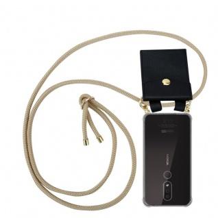 Cadorabo Handy Kette für Nokia 4.2 in GLÄNZEND BRAUN - Silikon Necklace Umhänge Hülle mit Gold Ringen, Kordel Band Schnur und abnehmbarem Etui ? Schutzhülle