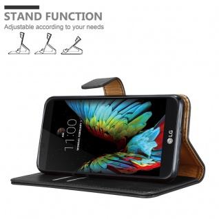 Cadorabo Hülle für LG K10 2016 in GRAPHIT SCHWARZ - Handyhülle mit Magnetverschluss, Standfunktion und Kartenfach - Case Cover Schutzhülle Etui Tasche Book Klapp Style - Vorschau 4