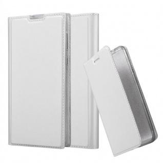Cadorabo Hülle für Sony Xperia L1 in CLASSY SILBER - Handyhülle mit Magnetverschluss, Standfunktion und Kartenfach - Case Cover Schutzhülle Etui Tasche Book Klapp Style