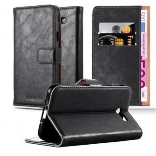 Cadorabo Hülle für Samsung Galaxy J7 2017 US Version in GRAPHIT SCHWARZ ? Handyhülle mit Magnetverschluss, Standfunktion und Kartenfach ? Case Cover Schutzhülle Etui Tasche Book Klapp Style