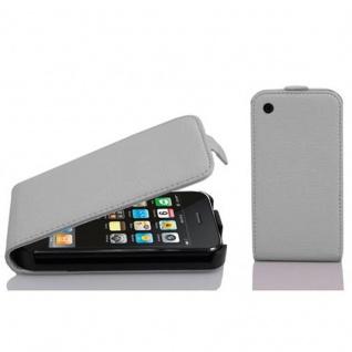 Cadorabo Hülle für Apple iPhone 3 / iPhone 3GS in MAGNESIUM WEIß - Handyhülle im Flip Design aus strukturiertem Kunstleder - Case Cover Schutzhülle Etui Tasche Book Klapp Style