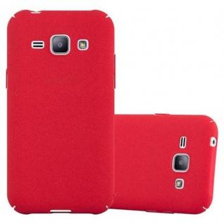 Cadorabo Hülle für Samsung Galaxy J1 2015 in FROSTY ROT - Hardcase Handyhülle aus Plastik gegen Kratzer und Stöße - Schutzhülle Bumper Ultra Slim Back Case Hard Cover