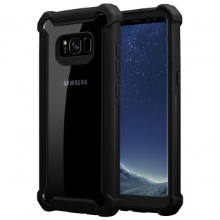 Cadorabo Hülle für Samsung Galaxy S8 PLUS in ERLEN SCHWARZ 2-in-1 Handyhülle mit TPU Silikon-Rand und Acryl-Glas-Rücken Schutzhülle Hybrid Hardcase Back Case