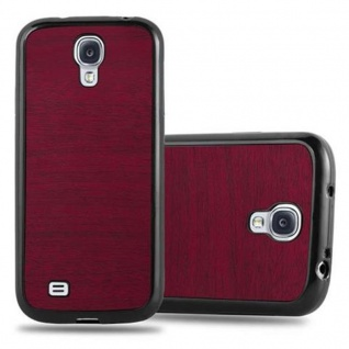 Cadorabo Hülle für Samsung Galaxy S4 in WOODEN ROT ? Handyhülle aus flexiblem TPU Silikon ? Silikonhülle Schutzhülle Ultra Slim Soft Back Cover Case Bumper