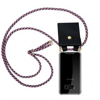 Cadorabo Handy Kette für Samsung Galaxy S8 PLUS in ROT WEISS Silikon Necklace Umhänge Hülle mit Gold Ringen, Kordel Band Schnur und abnehmbarem Etui Schutzhülle